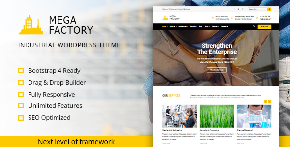 Mega Factory- Industrial WordPress Theme